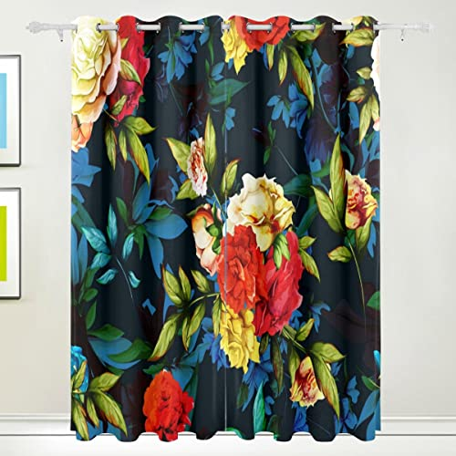 ALAZA U Life Vintage Floral Red Flowers Rose Patchwork Window Curtains Grommet Curtain
