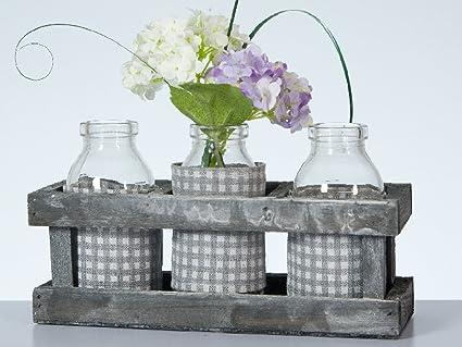 Juego en estilo rústico: 3 Botella Jarrones Vichy, en caja decorativa
