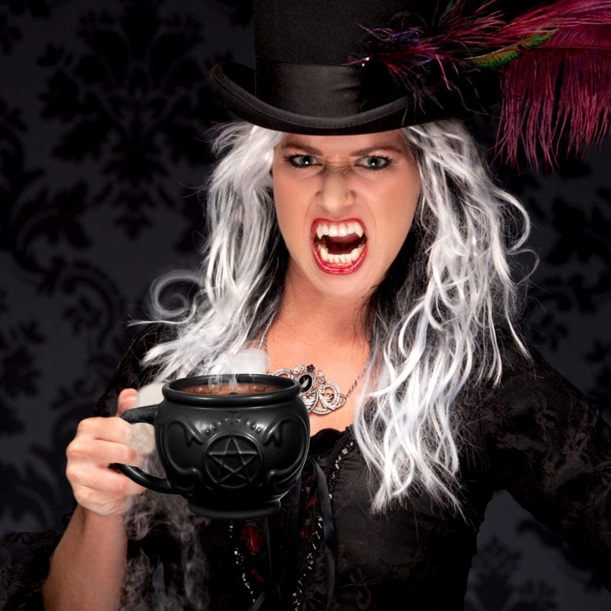 Witch Cauldron Mug Gothic Tea Cup Porcelain Witch Coffee Mug Witchcraft Supplies Novelty Halloween Gifts
