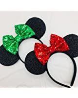 two x christmas mickey ears christmas minnie ears xmas mickey ears christmas disneyholiday ears