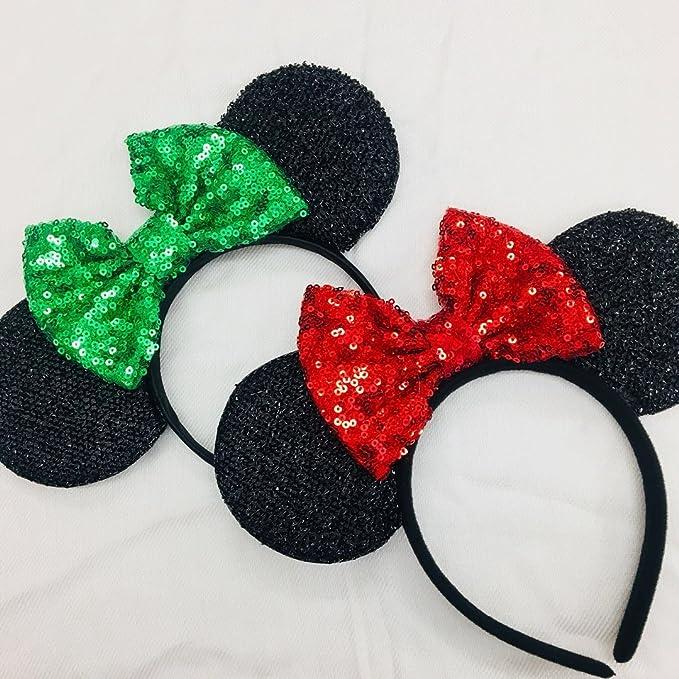 two x christmas mickey ears christmas minnie ears xmas mickey ears christmas disneyholiday ears - Disney Christmas Ears