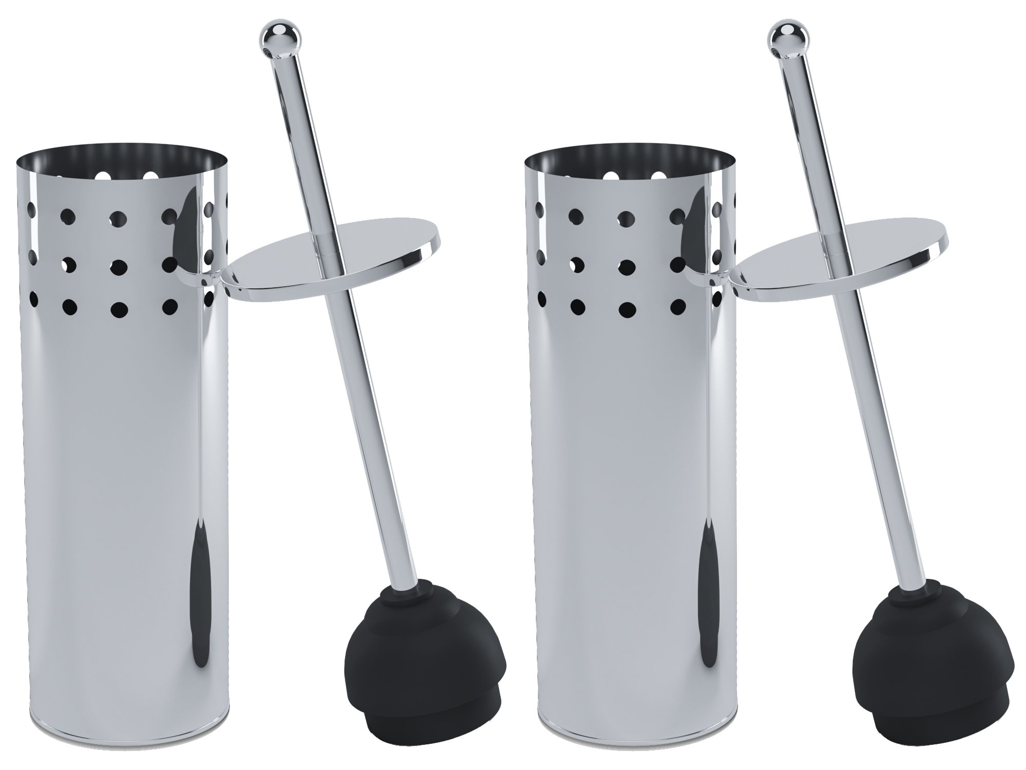 Home Intuition Vented Toilet Plunger with Holder for Bathroom, Chrome, 2 Pack by Home Intuition