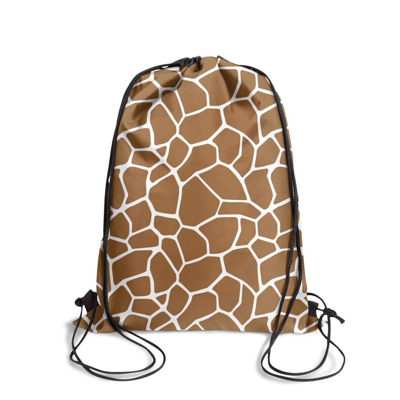 NEWBEGINer 巾着バックパック レインボープリント キリン スキン 巾着バッグ 人気のストリングバッグ ジムバッグ B07LGX99H6 Brown Giraffe Animal One Size