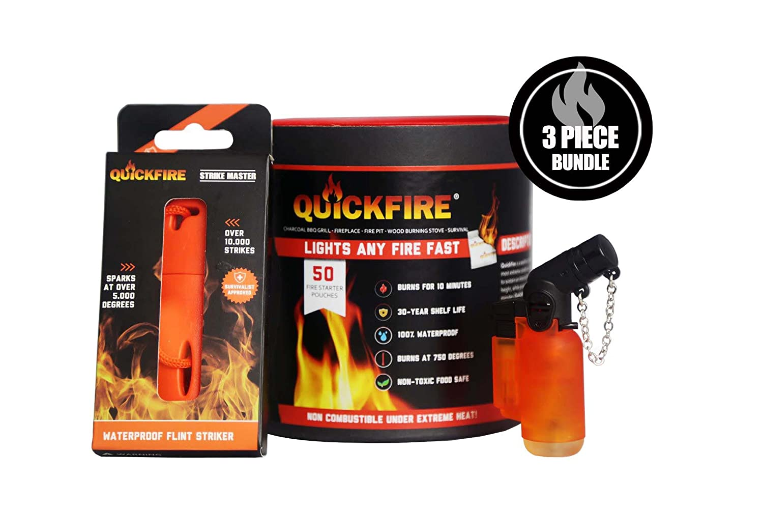 QuickFire (3 Piece Fire Bundle) Includes (x1) Angled Torch Lighter with Butane, (x1) Emergency Flint Starter & (x50) Pack Canister of Non-Toxic & Waterproof Fire Starters