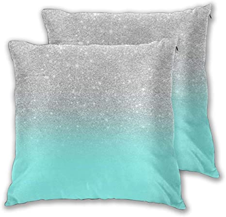Cushion Covers Pack of 2 Cushion Covers Throw Pillow Cases Shells for Couch Sofa Home Decor Modern Girly Faux Silver ...