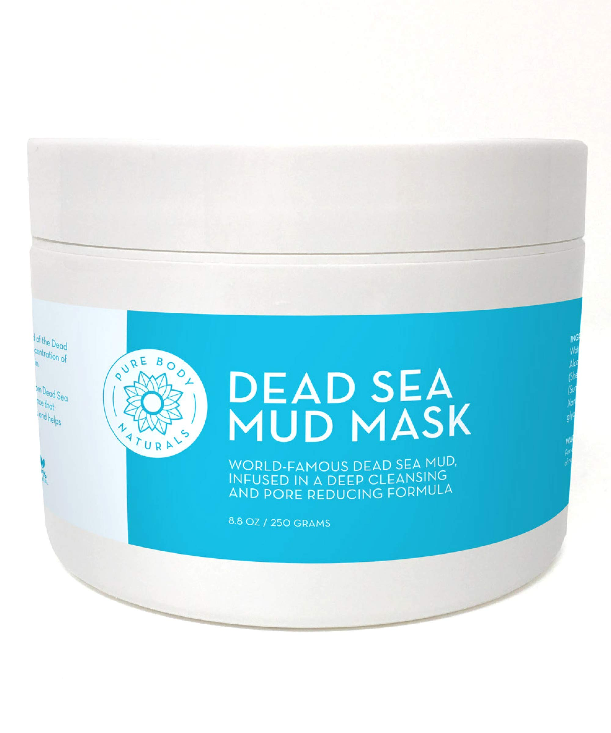 Dead Sea Mud Mask for Face and Body, Purifying Face Mask for Acne, Blackheads, and Oily Skin by Pure Body Naturals (Premium, 8.8 Ounce)