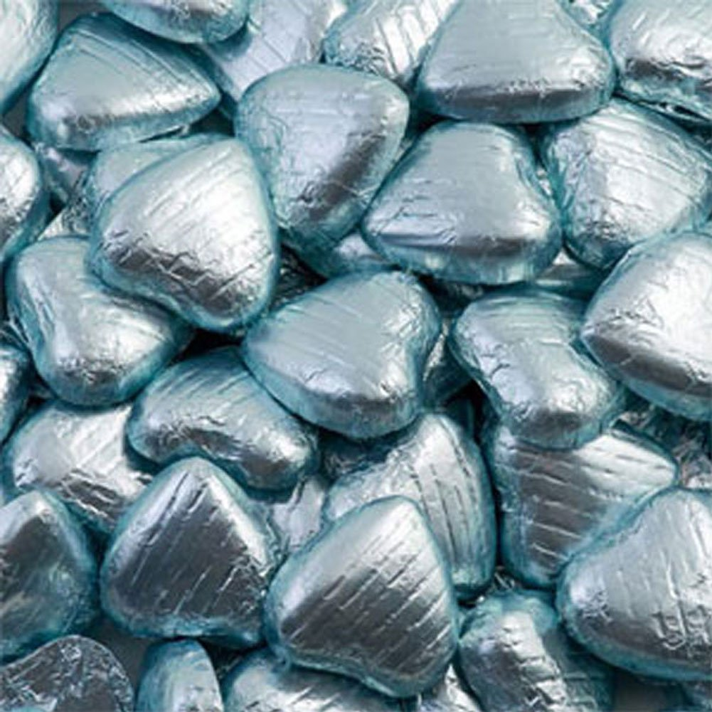 TURQUOISE  FOIL WRAPPED  MILK CHOCOLATE HEARTS    WEDDING PARTY TABLE FAVOURS