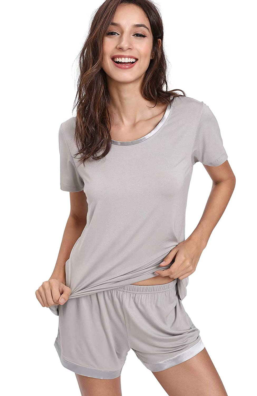 GYS Womens Pajama Shorts Set Soft Pjs Scoop Neck Sleepwear