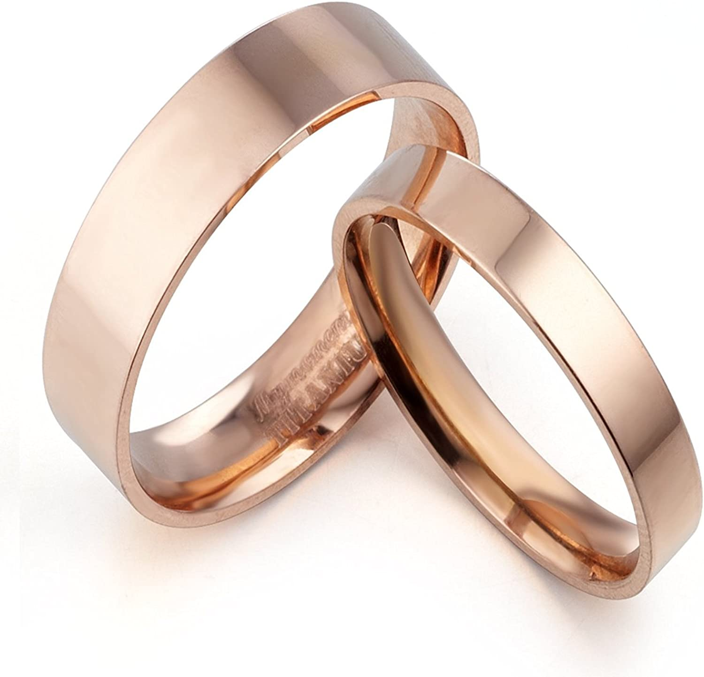 8.5 Gemini Groom /& Bride Flat Court Comfort Fit Rose Gold Titanium Wedding Rings Set Width 6mm /& 4mm Men Ring Size 9 Women Ring Size