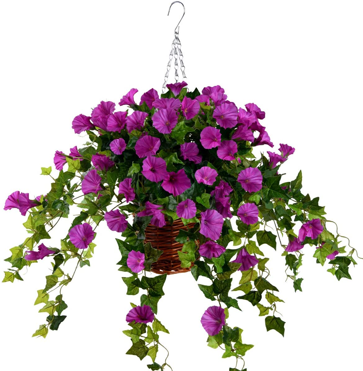 Hanging Basket with Artificial Vine Silk Petunia Flowers for Outdoor/Indoor,Artificial Hanging Plant in Basket,Morning Glories Ivy Basket Artificial Hanging Plant for Patio Lawn Garden Decor (Purple)