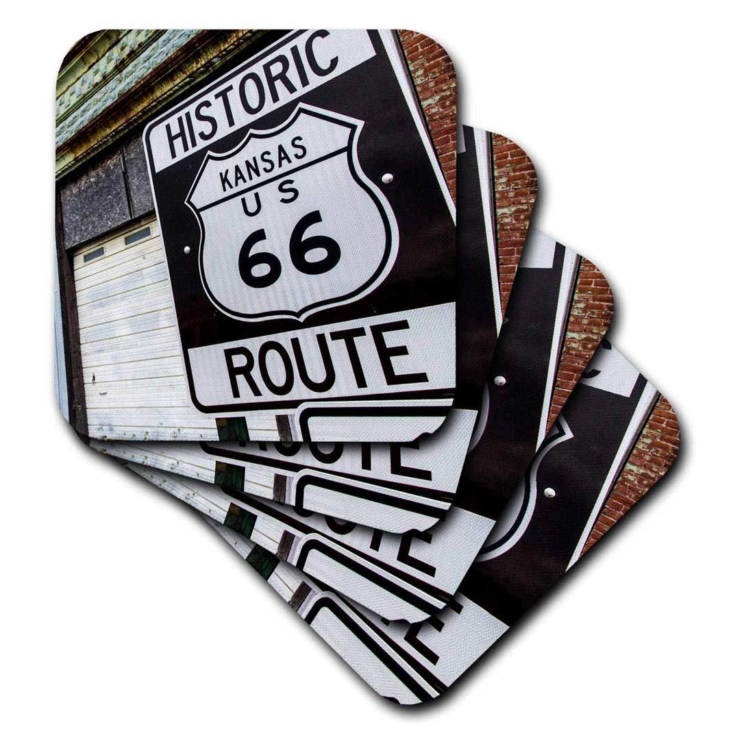 (set-of-8-Soft) - 3dRose cst_206165_ 7.6lna, Kansas, USA Route 66 Soft Coasters, Set of 8 set-of-8-Soft  B00UST839I
