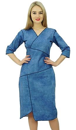 0e121c8a854c Bimba Women s V Neck Denim Dress 3 4 Sleeve Casual Formal Knee Length Shift  Dress