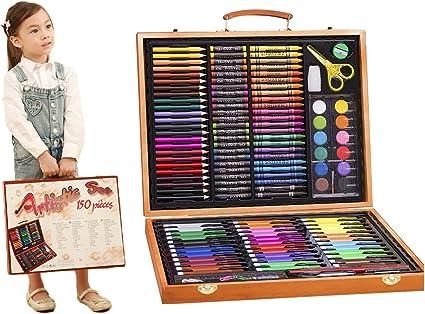 Coffret Coloriage Enfan Crayon De Dessin Kit Peinture Sets Avec Une Caisse En Bois Vintage Kit Dessin Enfant Sertie D Une Grande Variete De Couleurs Et De Types Amazon Fr Fournitures De Bureau