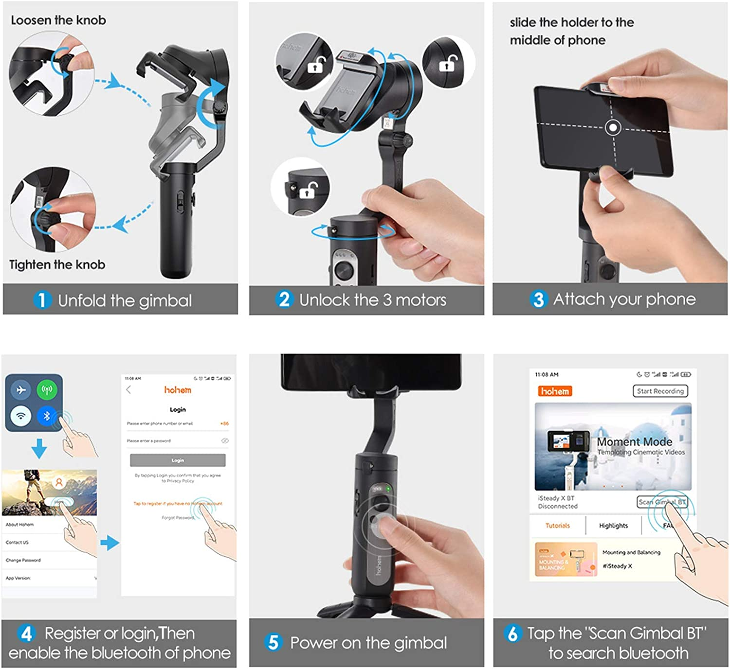 3-Axis Gimbal Stabilizer for Smartphone - 0.5lbs Lightweight Foldable Phone Gimbal w/Auto Inception Dolly-Zoom Time-lapse, Handheld Gimbal for iPhone 11 pro max/11/Xs Max/Samsung - Hohem iSteady X : Camera & Photo