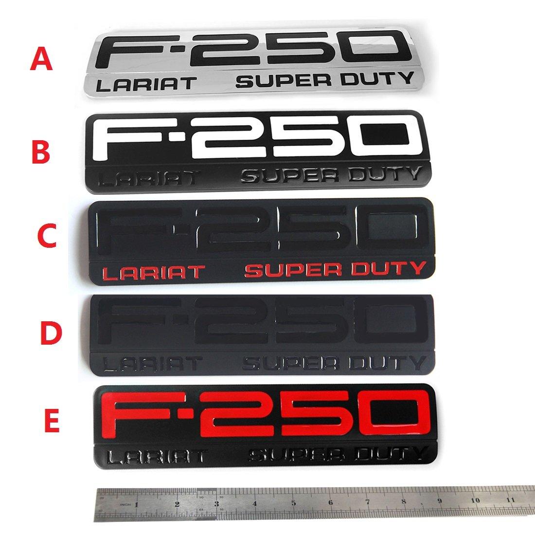3x OEM Black F-250 Lariat Super Duty Side Fender Emblems Badge 3D logo Replacement for F250 Lariat Pickup Sanucaraofo