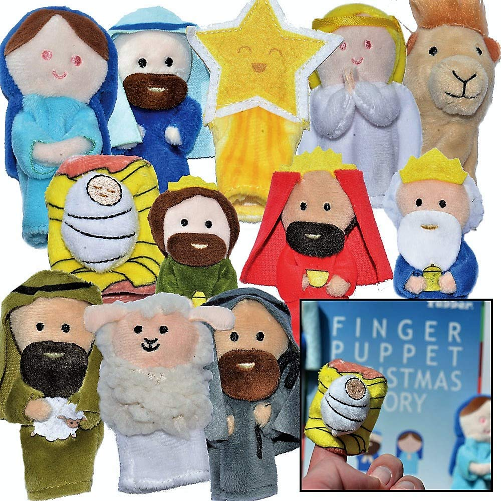 """The Nativity"" - Finger Puppet Set [12-Pack] - Includes Storybook [Birth of Jesus] - Great for Illustrating Bible Stories - Sunday School/Christmas Eve or Morning [Christian/Catholic Childr Gifts]"