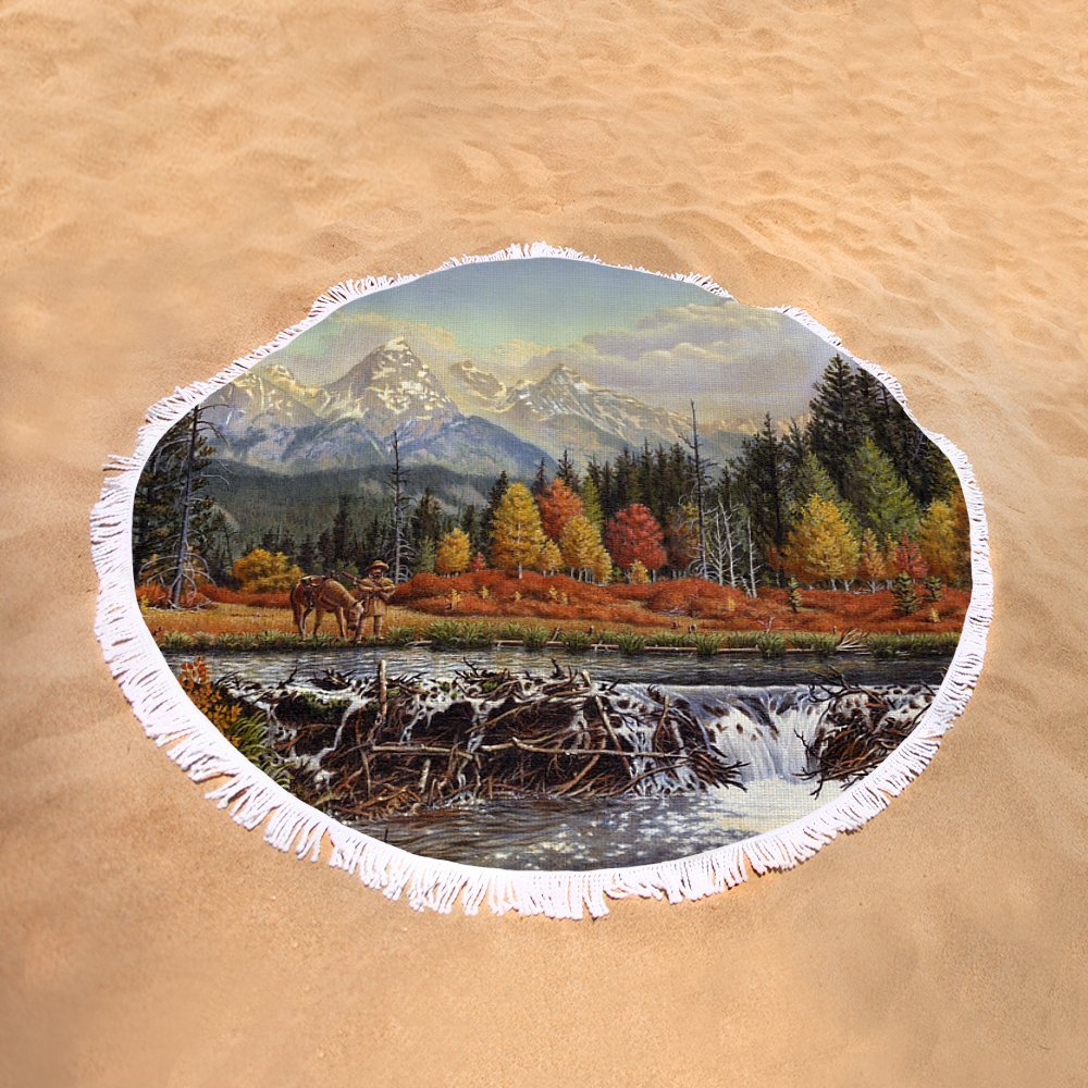 Pixels Round Beach Towel With Tassels featuring ''Western Mountain Landscape Autumn Mountain Man Trapper Beaver Dam Frontier Americana Oil Painting'' by Walt Curlee