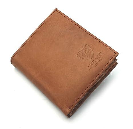 Funda RFID bloqueo J Wilson marrón para hombre auténtica de alta calidad piel tipo cartera bolso