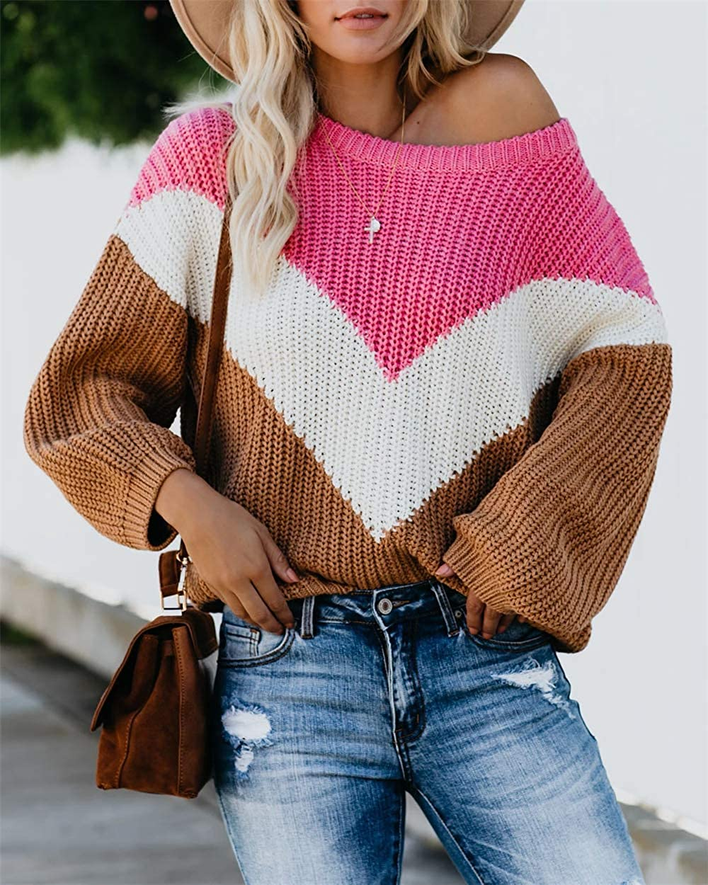 LAMISSCHE Womens Oversized Batwing Sleeve Sweaters Chevron Color Block Slouchy Loose Knit Pullover Jumper