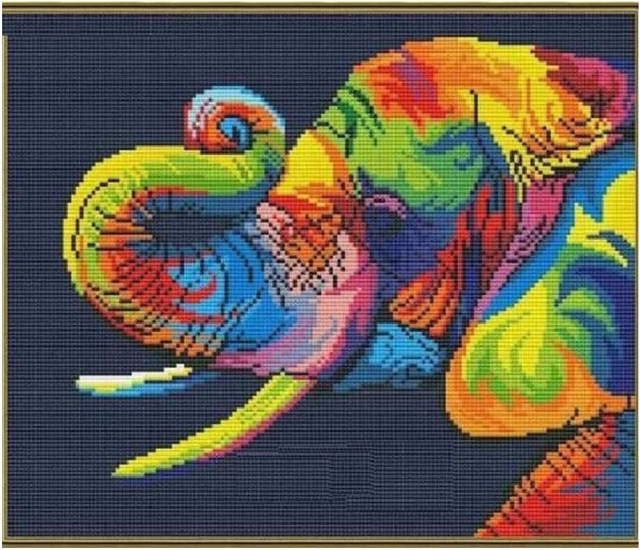 SWEET HOME Colorful Elephant in Dark Counted Cross Stitch Kits, Egyptian Cotton Counted Cross Stitch Kits