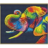 Colorful Elephant in Dark Counted Cross Stitch Kits,38 33cm Egyptian Cotton Counted Cross Stitch Kits