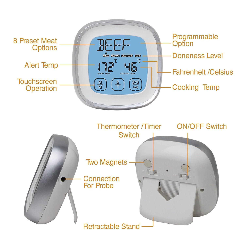 Cucina DollaTek Termometro per Carne Fumatore Lettura istantanea Termometro per Alimenti Termometro da Cucina Digitale con Timer Allarme sonda per Forno Argento griglia