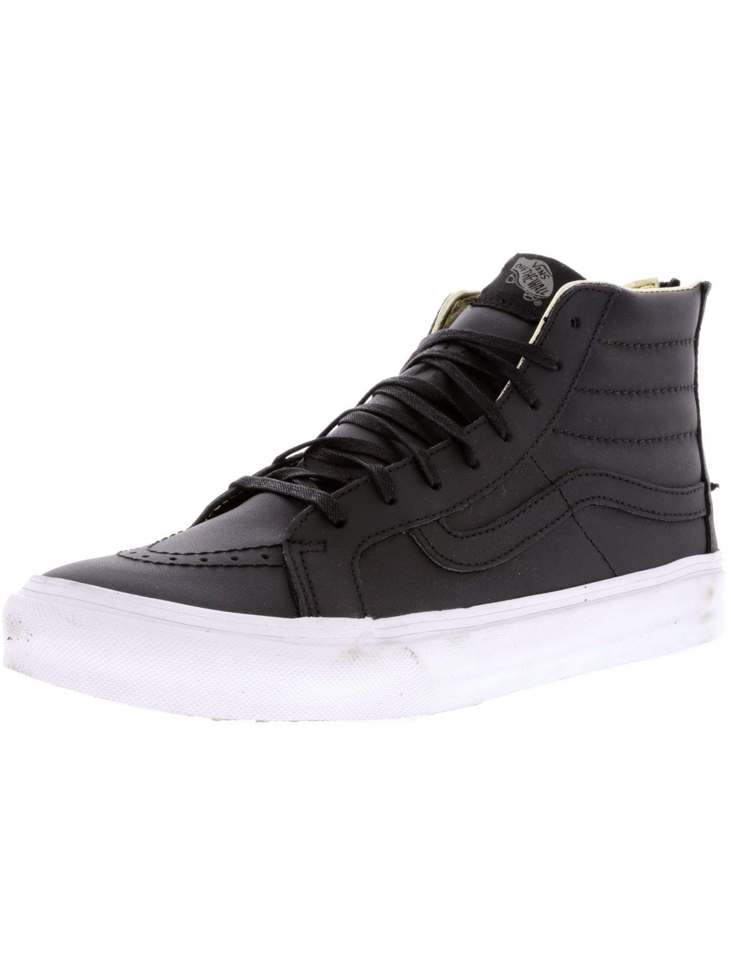 4c449ca7862882 Galleon - Vans Unisex Leather SK8-Hi Slim Zip Black Gold Sneaker - 3.5