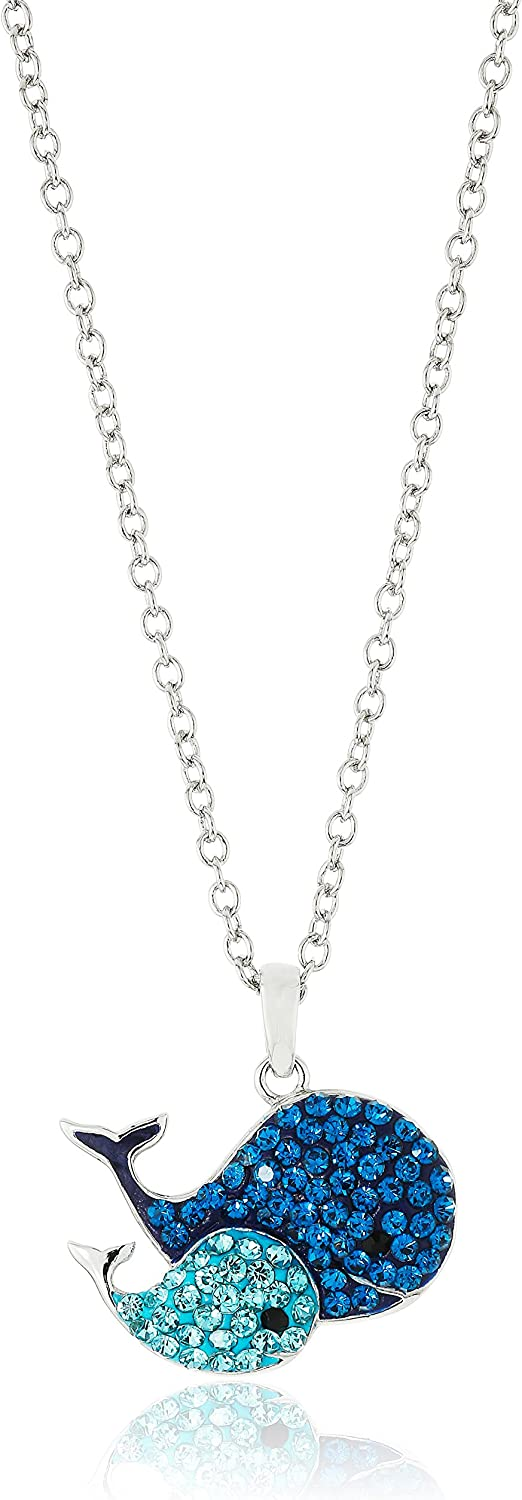 Silver Plated You and Me Crystal Critter Pendant Necklace, 18""