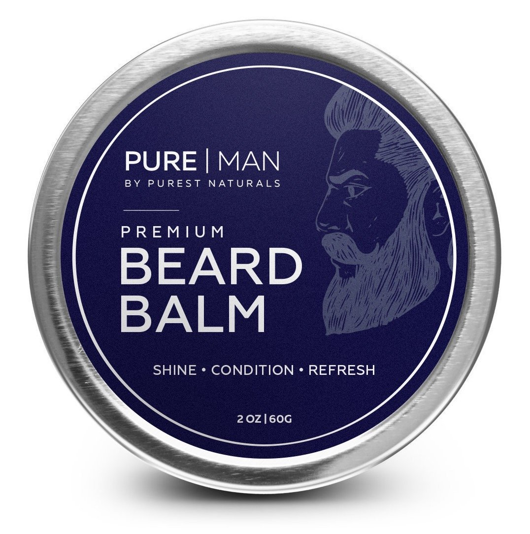 PURE | MAN Beard & Mustache Balm / Wax / Butter / Oil / Leave In Conditioner - Thickens, Strengthens, Softens, Tames & Styles Facial Hair Growth - Best & 100% Natural - Soothes Itching PUREST NATURALS