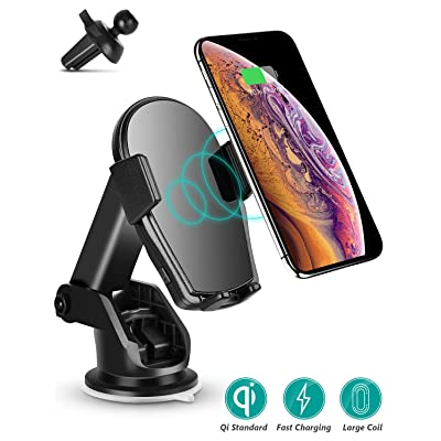 Wireless Car Charger - Charvoxrt Car Charger Mount Auto Clamping with 7.5W/10W QI Fast Charging - Phone Holder Air Vent Windshield Dashboard for iPhone 11 Pro/Xs Max/XR/X, Samsung Galaxy S10+/S9+/S8+