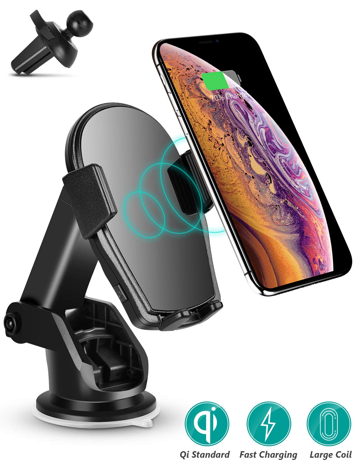 Wireless Car Charger - Charvoxrt Auto Clamping Car Charger Mount with 7.5W/10W QI Fast Charging - Air Vent Windshield Dashboard Phone Holder for iPhone Xs MAX/XR/X/8+, Samsung Galaxy S10+/S9+/S8+