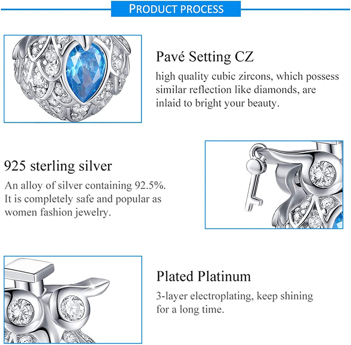 FOREVER QUEEN Cute Animal Series Cat Dog Beads Charms 925 Sterling Silver Charm CZ Animals Pendant Fit Bracelets Necklace Jewelry for Women Girls