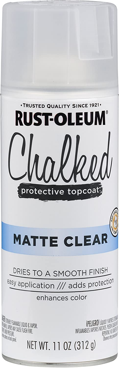 Rust-Oleum 302599 Chalked Sealer/Wax Topcoat Spray Paint, 11 oz, Clear
