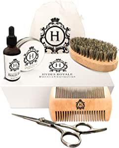 Beard and Mustache Grooming Kit for Men by Hydes Royale - Professional Accessories - Trimming and Shaping Scissors, Travel Bag, Anti-Snag Comb, Premium Organic Balm, and Conditioning Oil - Gift set