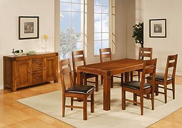 HGG bois massif-Table de salle à manger 6 places Table et chaises en ...