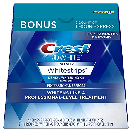 Crest 3D White Professional Effects Whitestrips Whitening Strips Kit, 22 Treatments, 20 Professional Effects 2 1 Hour Express Whitestrips, 44 Count