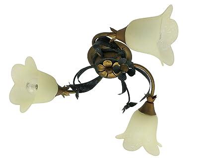 Plafoniera Rustica : Isotta p plafoniera rustica country classico foglie verde oro