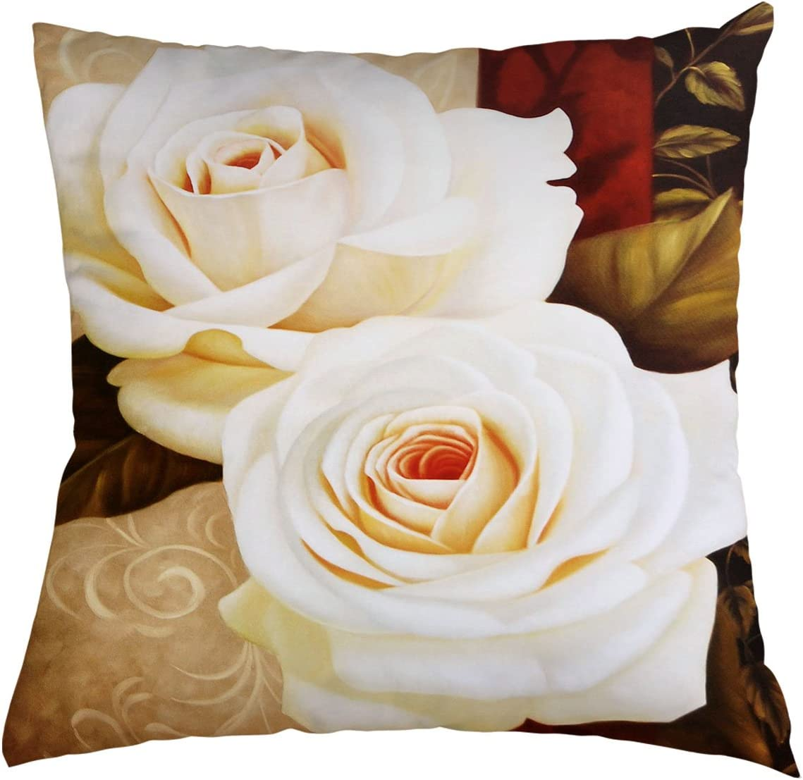 Amazon Com Flower Throw Pillow Cover Beautiful Flower White Rose Background For Couch Sofa Bed Car Seats Home Decorative Throw Pillow Case 20 X20 Home Kitchen