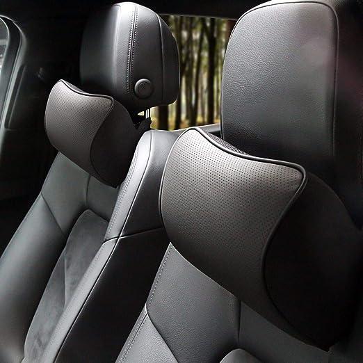 2Pcs Leather Car Seat Pillow Breathable Head Neck Rest Cushion Headrest Black