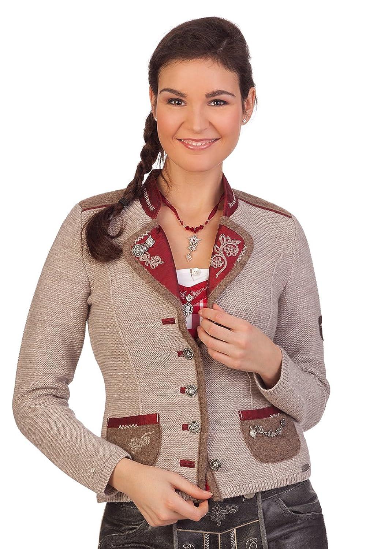 Damen Trachten Strickjanker - WONNE - natur, rot