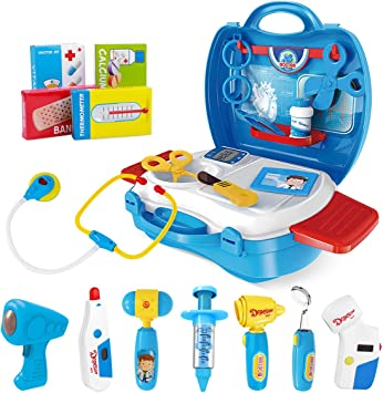 Ibasetoy Doctor Kit For Kids 27pcs Pretend Medical Doctor Medical Playset With Electronic Stethoscope Medical Kits Gift Educational Doctor Toys For