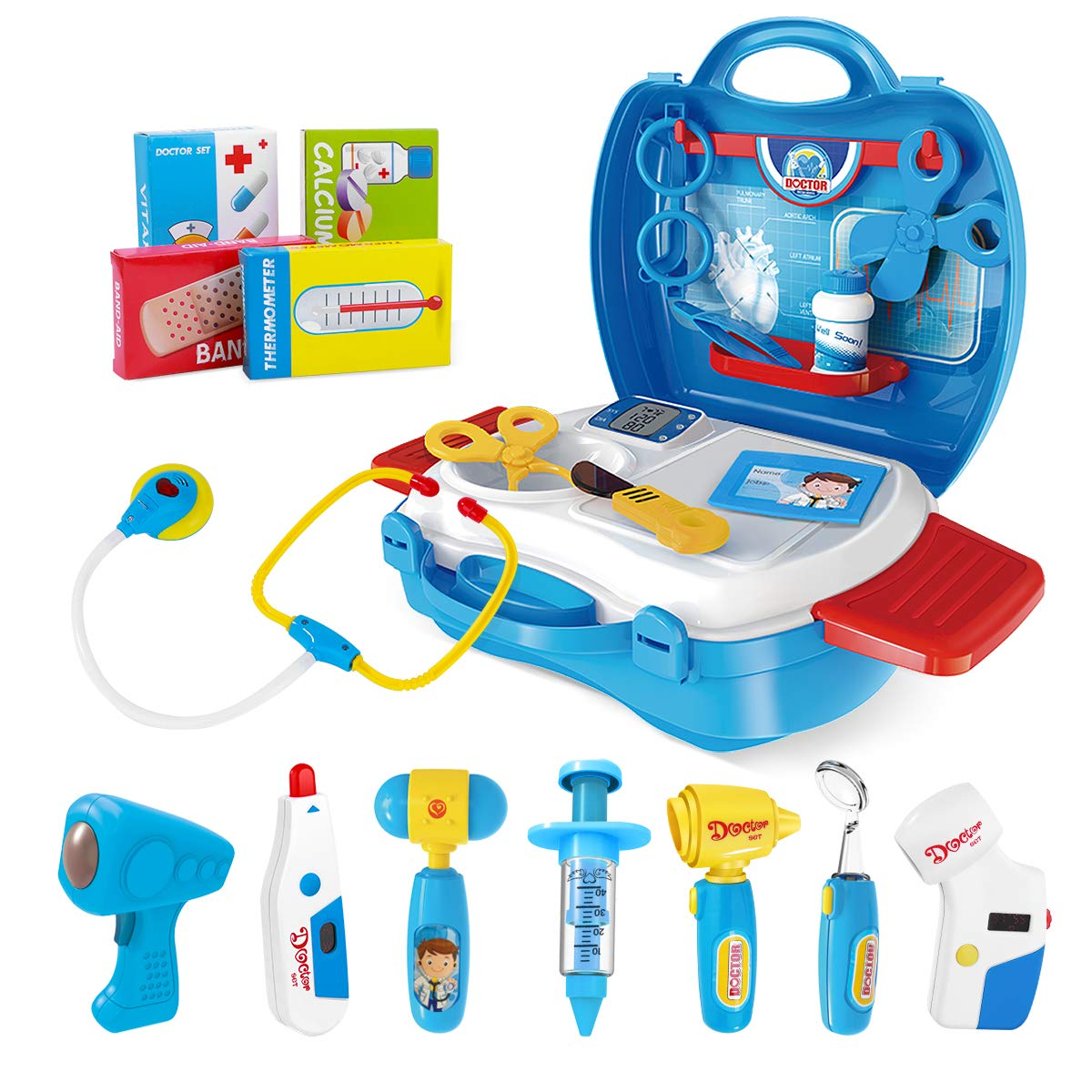 iBaseToy Doctor Kit for Kids, 27Pcs Pretend Medical Doctor Medical Playset with Electronic Stethoscope, Medical Kits Gift, Educational Doctor Toys for Toddler Boys Girls (Blue) by iBaseToy