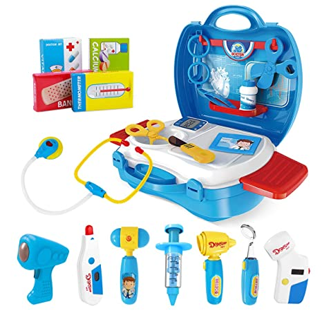 4dcacf0eb iBaseToy Doctor Kit for Kids, 27Pcs Pretend Medical Doctor Medical Playset  with Electronic Stethoscope,