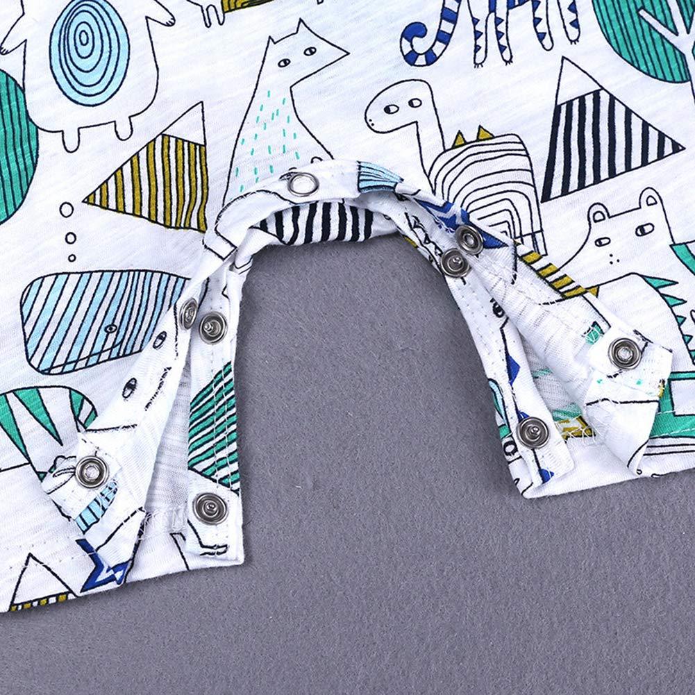 RongCun Toddler Baby Boys Girls Cute Carton Rompers Infant Cotton Short Sleeves Bodysuit