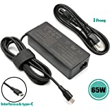 HotTopStar 20V 3.25A 65W 45W USB-C Type-C PD Charger Power Supply Adapter Compatible for Lenovo ThinkPad T480 T480s T490 T490s T580 T590 L380 L390 L480 L580 E490 E490s Yoga 910 920 370 X270 X280