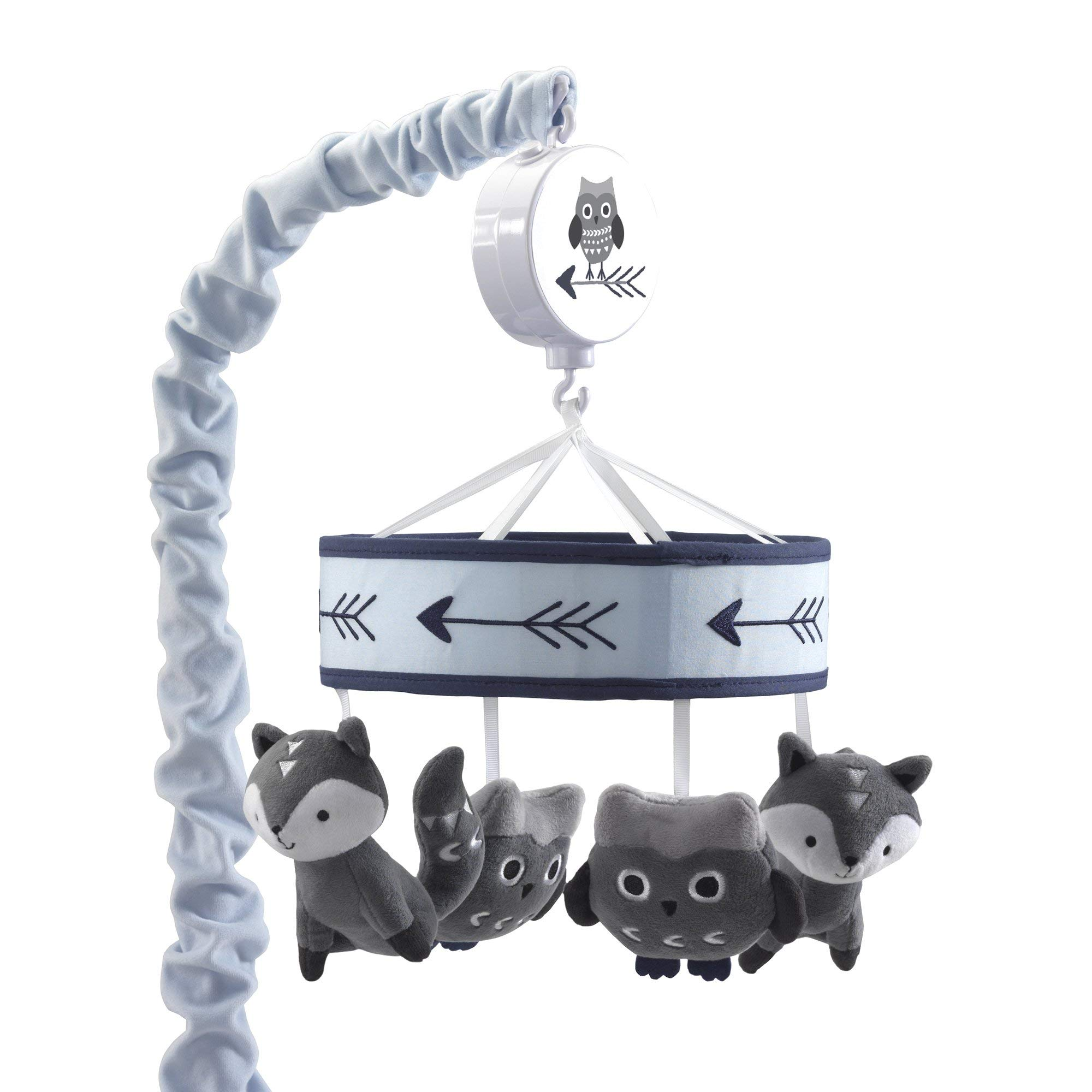 Lambs & Ivy Stay Wild Gray/Blue Animal Musical Mobile