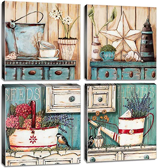 Rustic Farmhouse Wall Art Bathroom Wall Decor Canvas Print 12x12 Inch 4pcs Yard Art Retro Country Style Blue Teal Ocean Colors Watercolor Painting Flowers Picture Kitchen Living Room Home Decoration Amazon Ca Home
