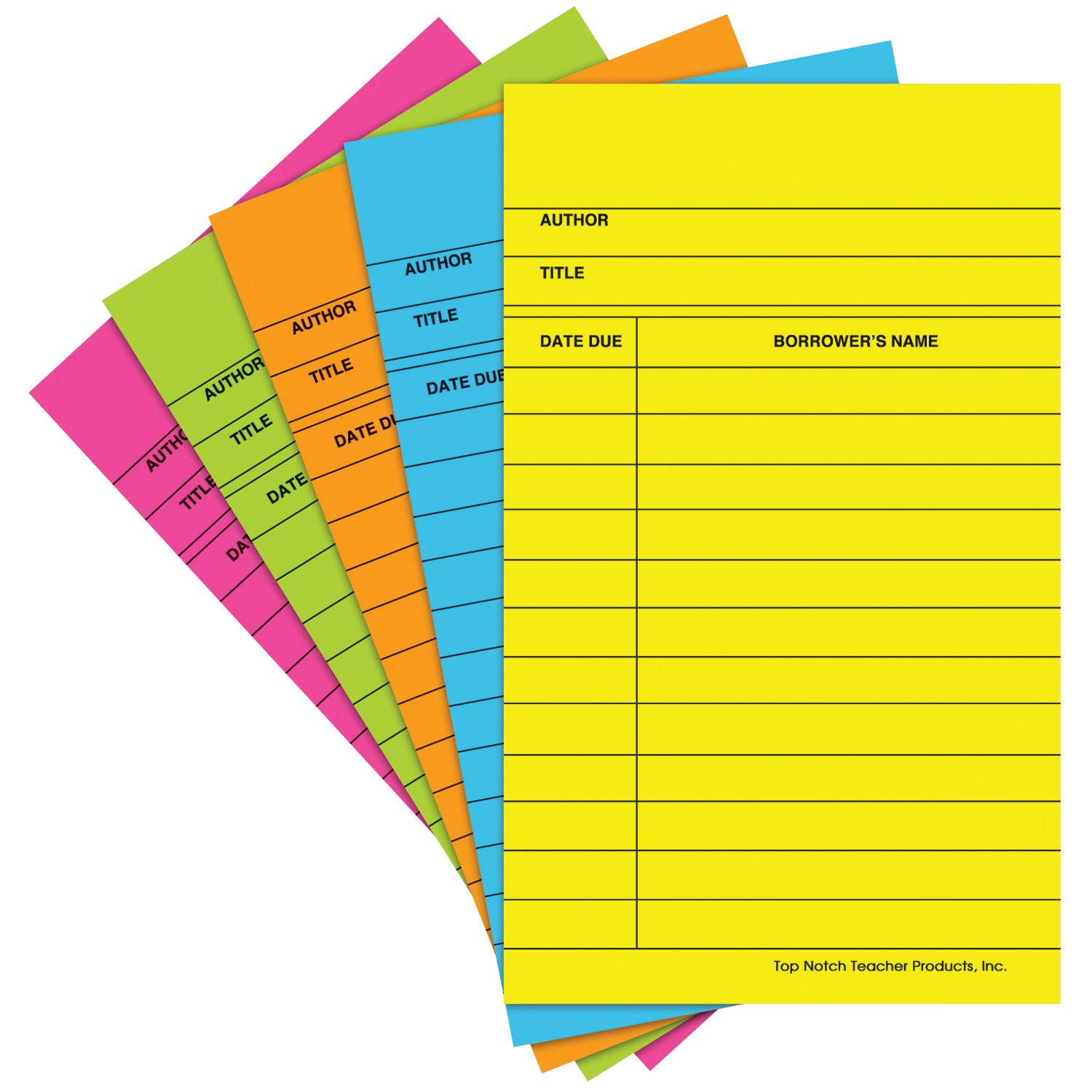 Top Notch Teacher Products Library Cards (50 Pack), Bright Assorted Top gun records LLP TOP368