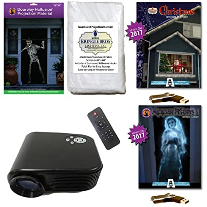 atmosfearfx christmas halloween projector kit includes 800 x 480 projector hollusion doorway kringle