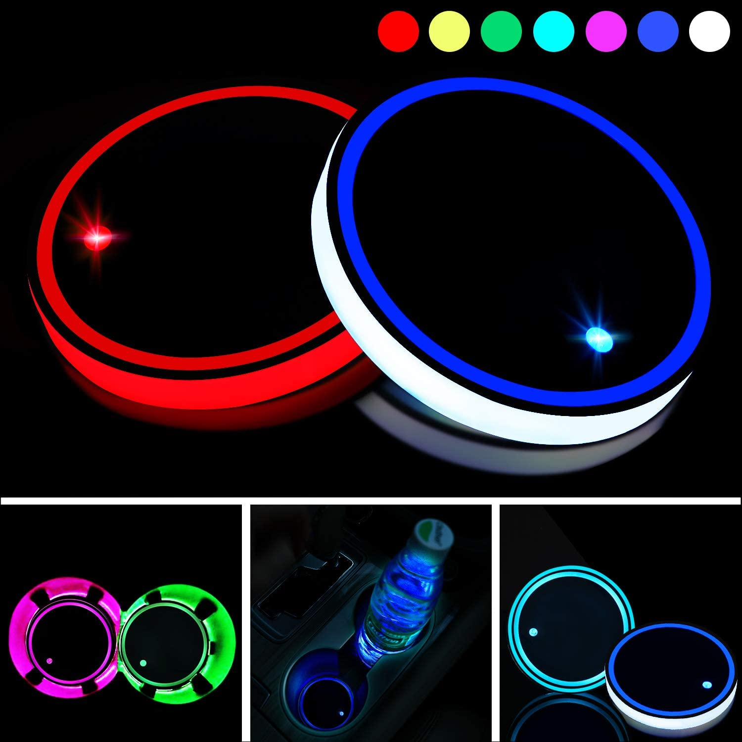 Boao 2 Pieces LED Cup Holder Lights LED Car Coasters 7 Colors Luminescent Cup Pad USB Charging Cup Mat for Drink Coaster Accessories Car Interior Decoration Lamp Atmosphere Light